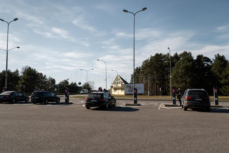 JURMALA, LATVIA - APRIL 2, 2019: People are paying 2 EUR to enter the city royalty free stock photography