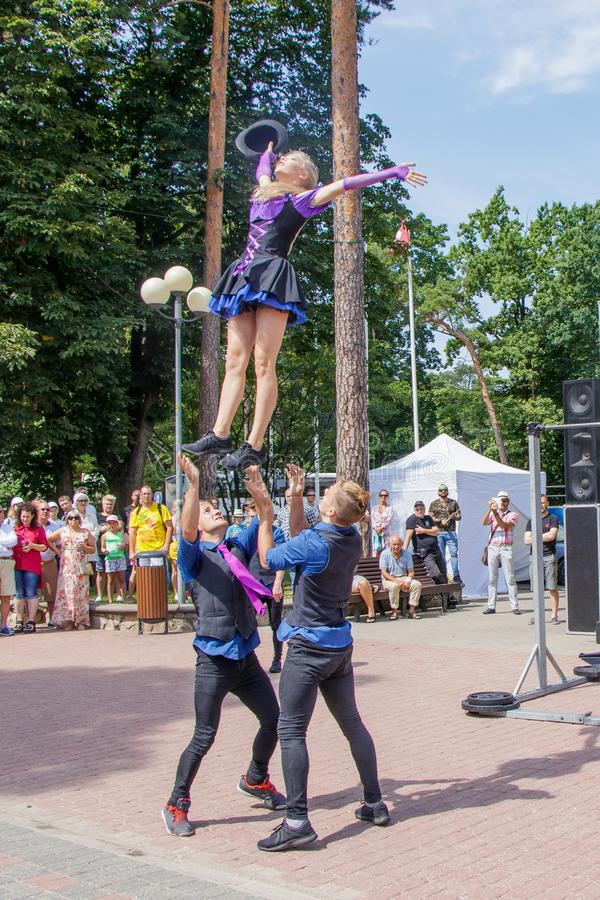 Performance of a group of gymnasts at the Jomas street festival. Open access, no tickets. royalty free stock photography