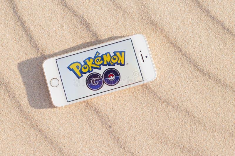 JURMALA, LATVIA - July 13, 2016: Pokemon Go logo on the smartphone. Pokemon Go is a location-based augmented reality mobile game. royalty free stock photos