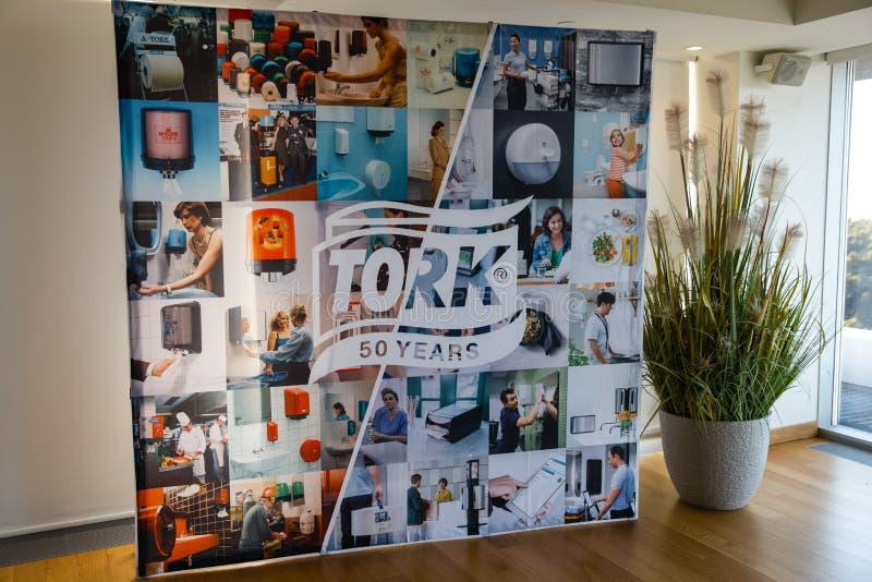 JURMALA, LETTONIA - 2 APRILE 2019: Conferenza baltica di anniversario della società cinquantesimo di Tork nell'hotel di Lielupe  fotografie stock
