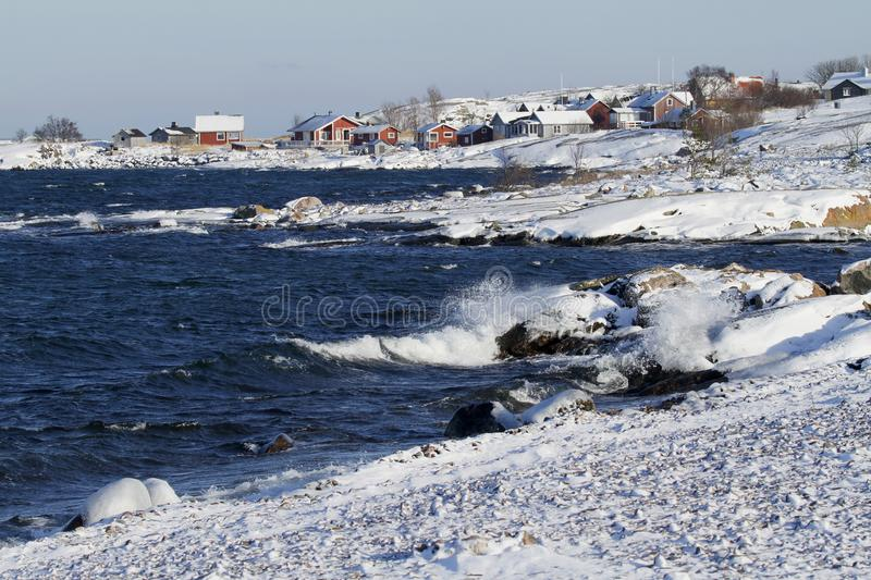 Jurmo village in winter, Finland, Baltic Sea. royalty free stock images