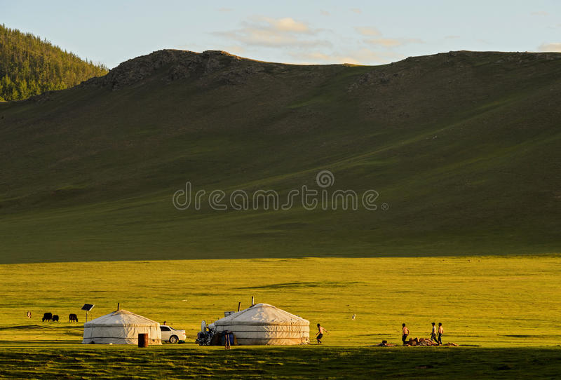 Jurts of a nomad family at sunset stock images