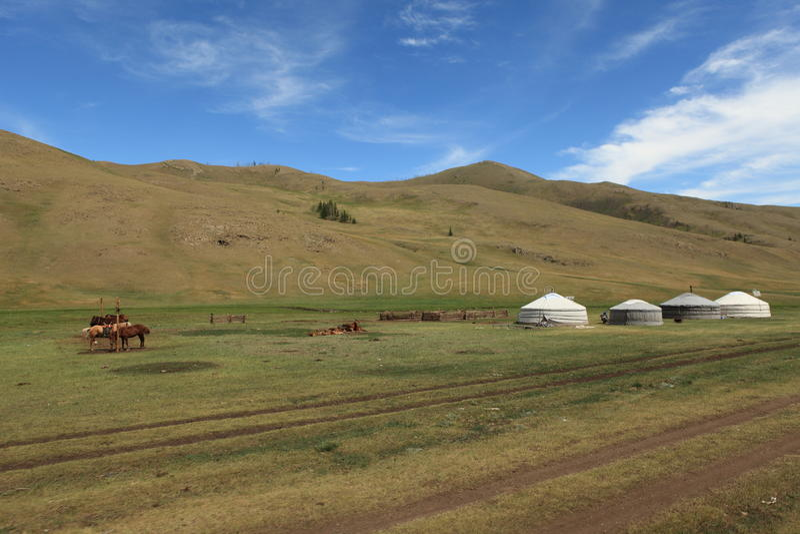Jurty wioska Mongolia zdjęcie royalty free