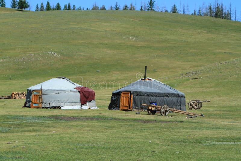 Jurty wioska Mongolia obraz stock