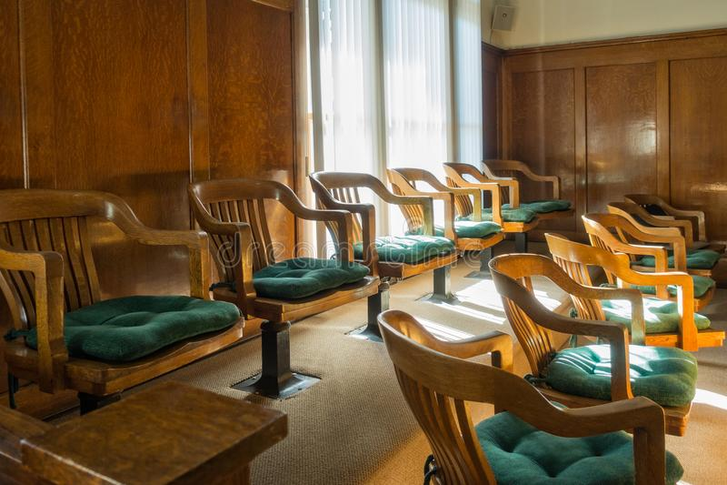 Jury Box. In the historic Mohave County Courthouse, Kingman, Arizona royalty free stock photo