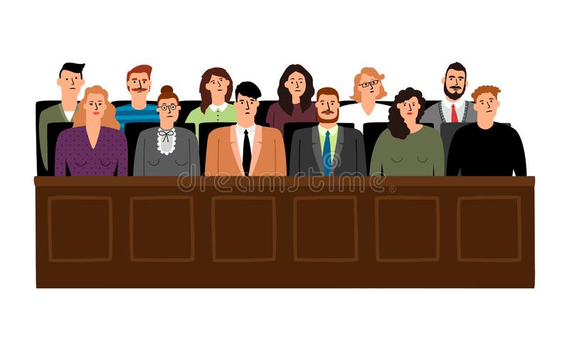 Jury in court trial stock illustration