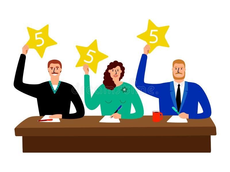 Jury de jeu-concours Groupe de juge de concurrence s'asseyant à la table et à l'illustration de vecteur de cartes de score d'opin illustration de vecteur