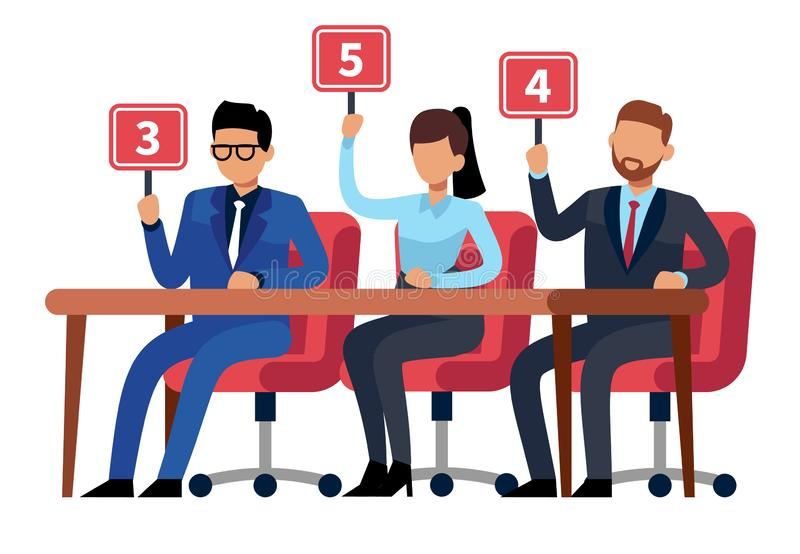 Jury judges holding scorecards. Quiz people show. Professional competition judges, trivia game jury vector illustration vector illustration