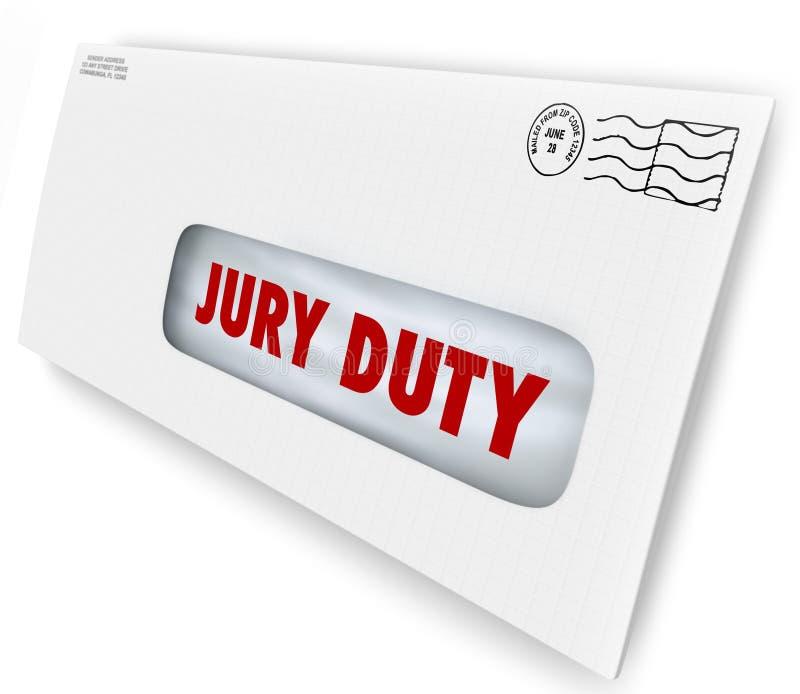 Jury-Pflichts-Umschlag-Aufruf erscheinen Gerichts-legale Rechtssache lizenzfreie abbildung
