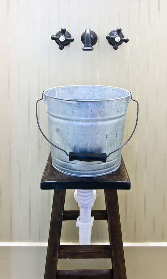 Jury Rigged Bucket Sink Royalty Free Stock Photo