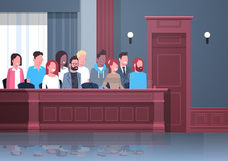 Jury sitting in box court trial session mix race people in judging process modern courtroom interior portrait horizontal. Vector illustration stock illustration