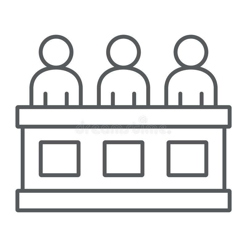 Jury thin line icon, court and law, tribunal sign, vector graphics, a linear pattern on a white background. Jury thin line icon, court and law, tribunal sign royalty free illustration