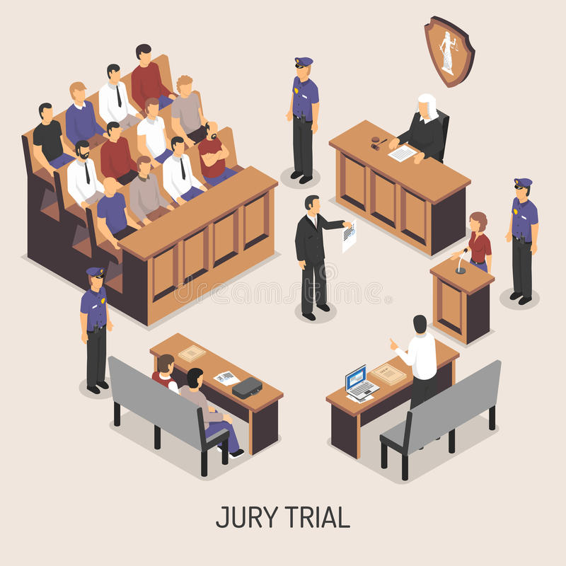 Jury Trial Isometric Composition. With officers of police court defendant lawyer witnesses on white background vector illustration stock illustration