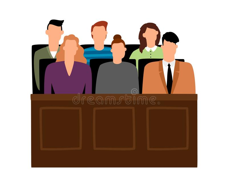 Jury trial. Jurors court in courtroom, prosecution people vector illustration. In cartoon style stock illustration