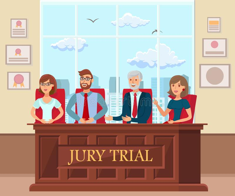 Jury Trial Workers in Court Flat Illustration. Man, Women Performing Juror Duty. Legal Process, Procedure in Courtroom. Experts Making Guilty, Innocent vector illustration