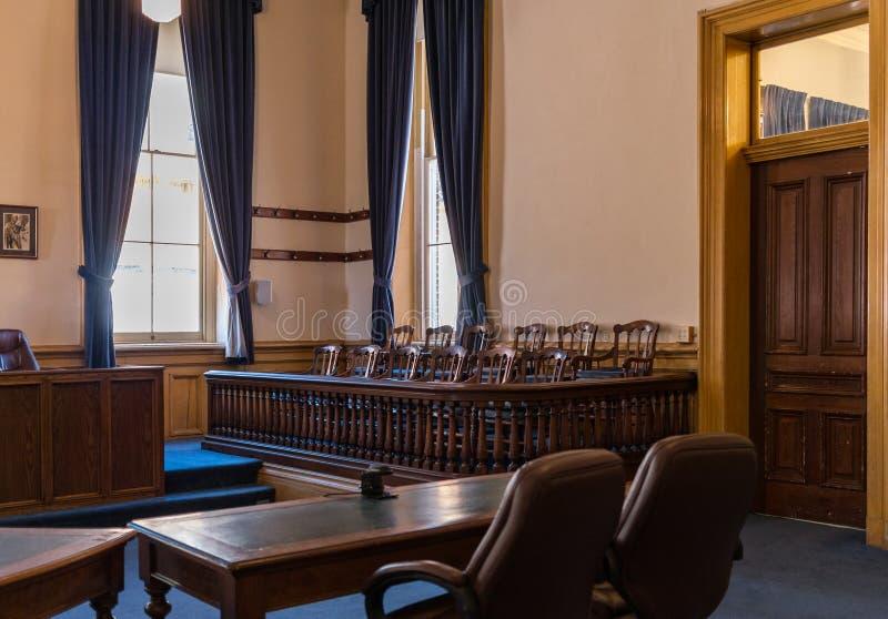 Juryask, Virginia City, Nevada, Storey County domstolsbyggnad royaltyfria bilder