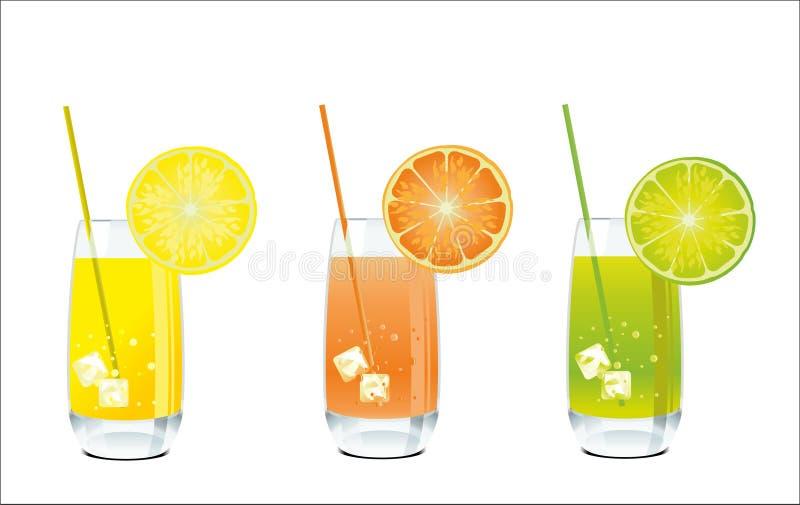Jus d'orange, de citron et de limette dans un verre illustration stock