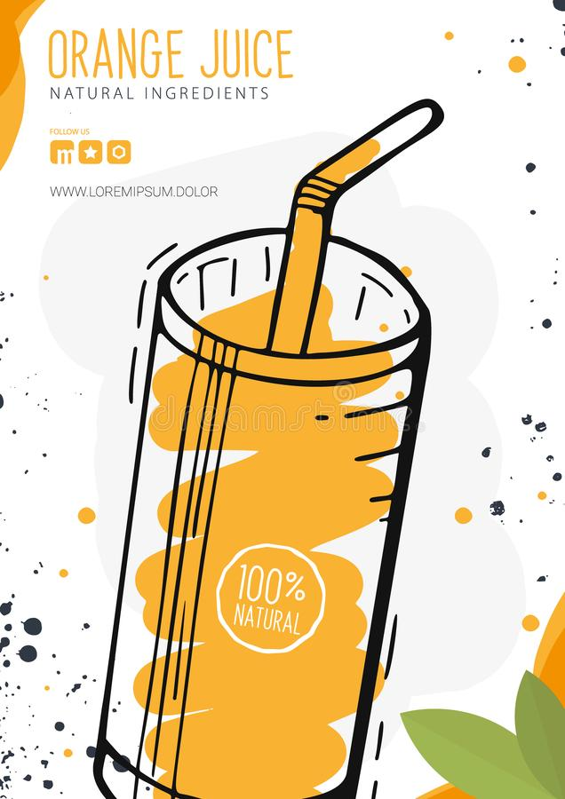 Jus d'orange in een glas Banner smoothies, limonade, vers, detox in schetsstijl royalty-vrije illustratie