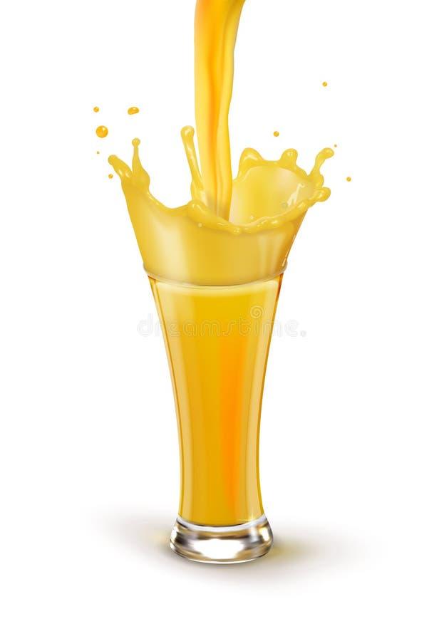 Jus d'orange in een glas Een plons van sap royalty-vrije stock afbeeldingen