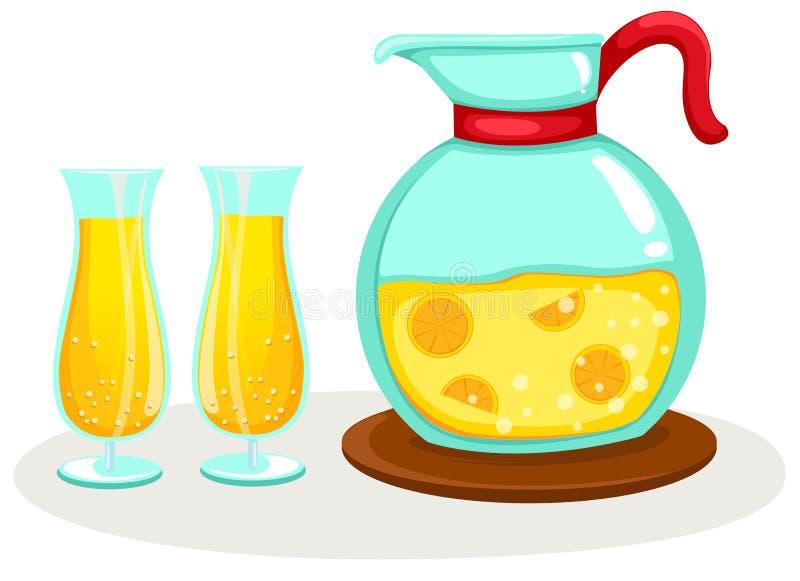 Jus d'orange in een kruik en glazen stock illustratie