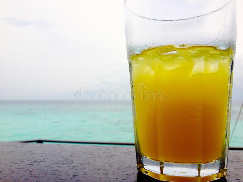 Jus d'orange froid glacial devant des vacances tropicales d'île d'océan images libres de droits