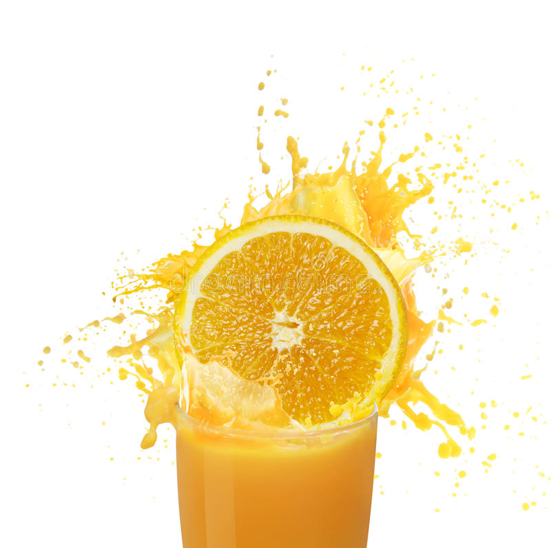 Jus d'orange het bespatten stock foto