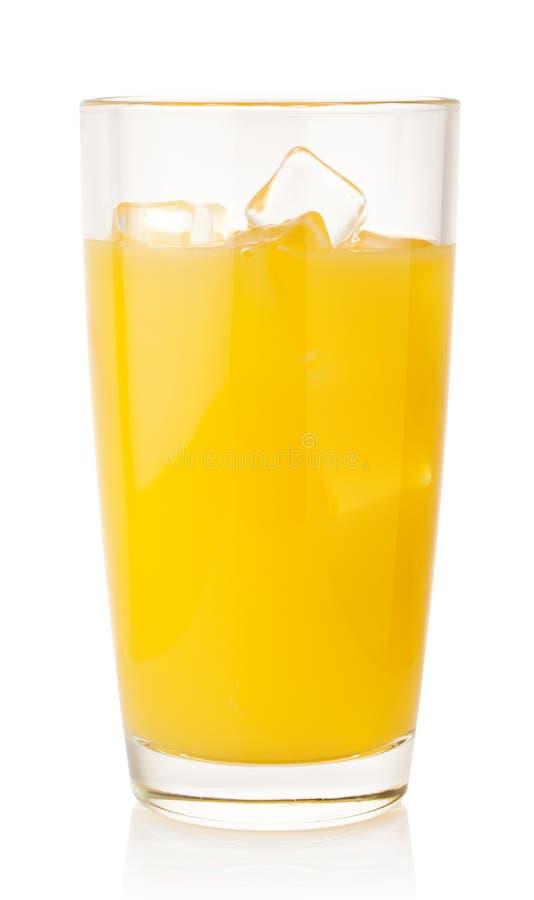 Jus d'orange met ijsblokjes royalty-vrije stock fotografie