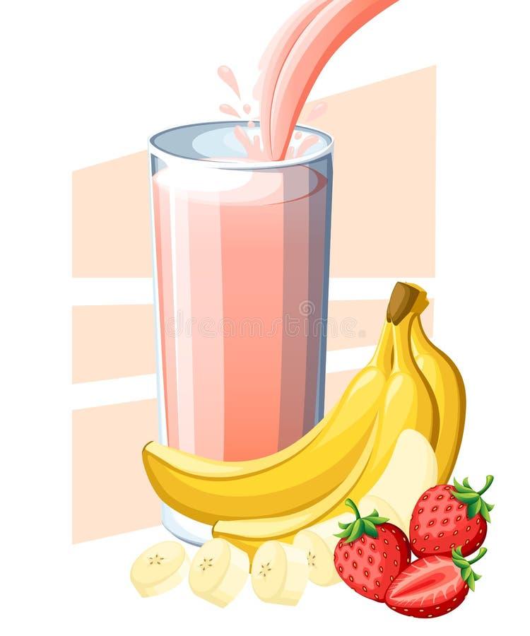 Jus de banane de fraise Jus de fruit frais et de baie en verre Écoulement et éclaboussure de jus en plein verre Vecteur o d'isole illustration stock
