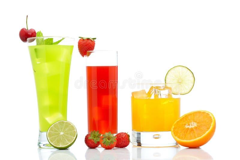 Jus de fraise, d'orange et de kiwi photo stock