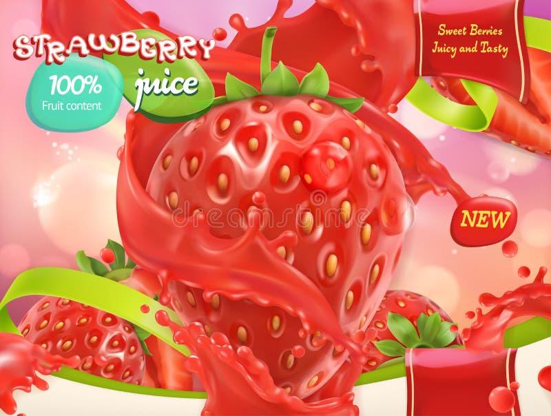 Jus de fraise Fruits et baies doux vecteur 3d illustration libre de droits