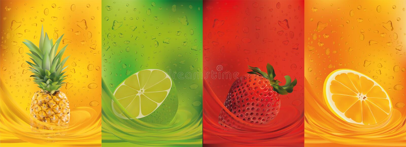 Jus de fruit, ananas, chaux, orange, fraise fruits frais 3d Le fruit ?clabousse ?troit  Illustration de vecteur illustration libre de droits