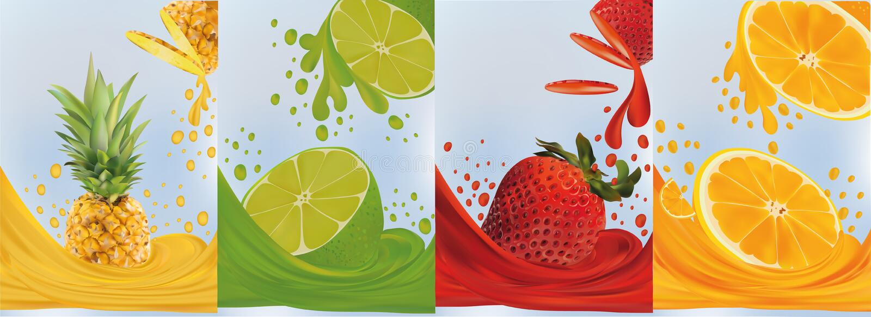 Jus de fruit, ananas, chaux, orange, fraise Fruits frais Le fruit ?clabousse ?troit  illustration du vecteur 3d illustration libre de droits