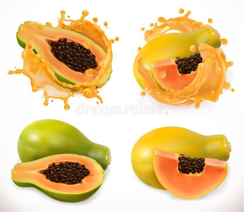 Jus de papaye Fruit frais, ensemble d'icône de vecteur illustration stock