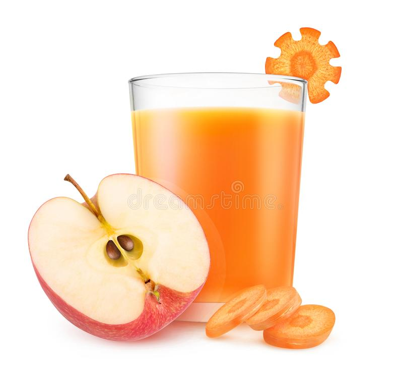 Jus de pommes et de carotte photo stock