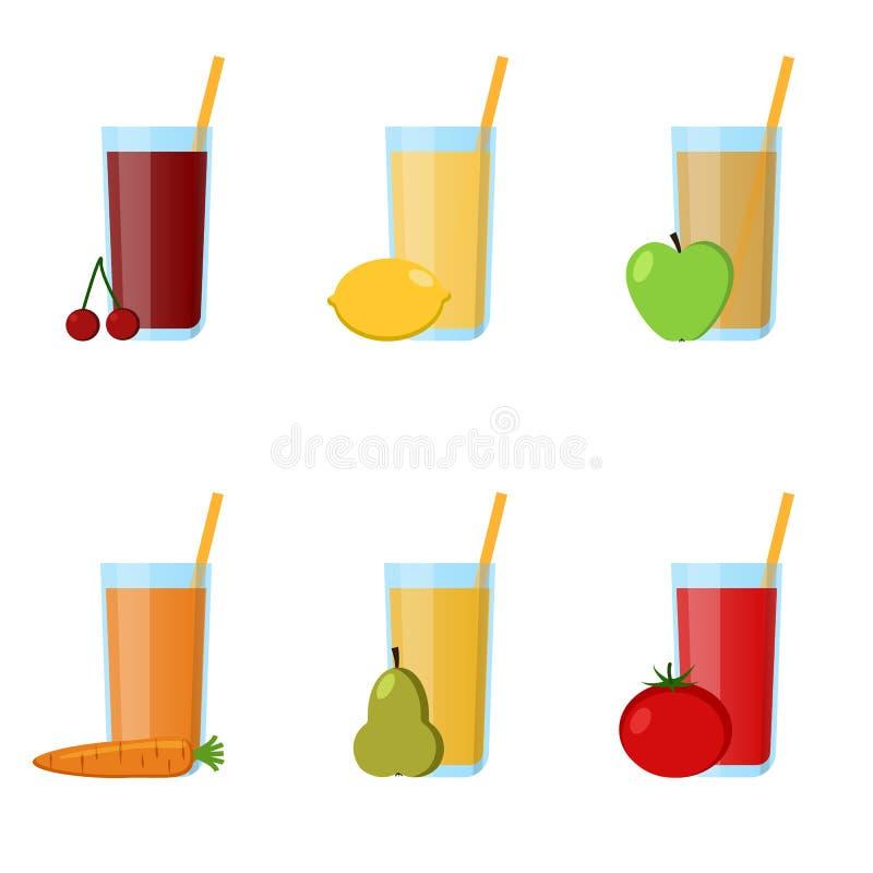 Jus en verre de collection des éléments infographic de fruits et légumes Le meilleur pour la conception, textiles, affiches, Web illustration de vecteur