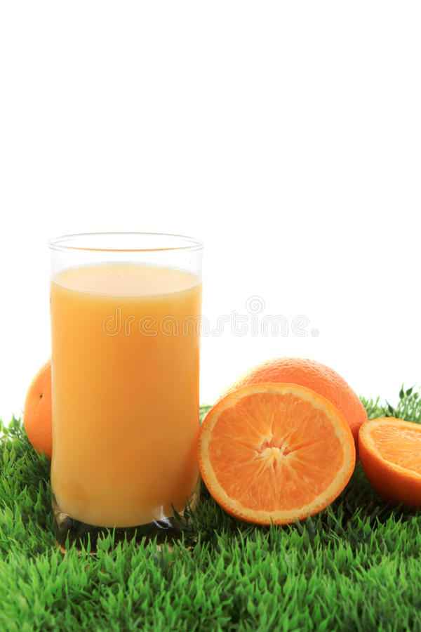 Jus et fruit d'orange sur l'herbe image libre de droits