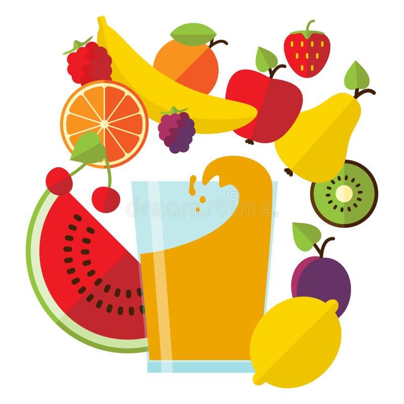 Jus et fruit frais image stock