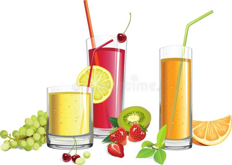 Jus et fruits illustration de vecteur