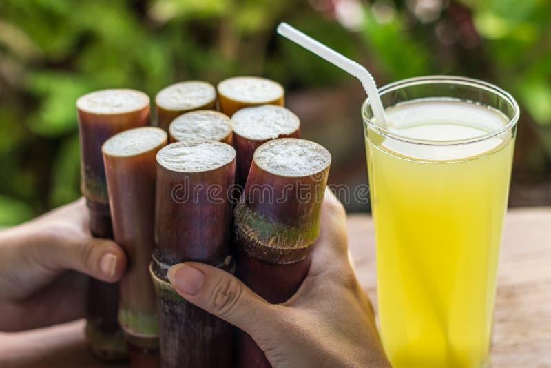Jus frais de canne à sucre pour la consommation saine, nourriture fraîche pour suivre un régime photographie stock