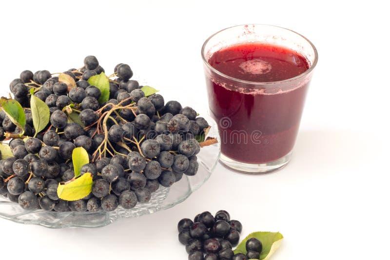 Jus frais de melanocarpa noir d'Aronia de chokeberry en verre et de beries dans le pot, d'isolement sur le fond blanc photos stock