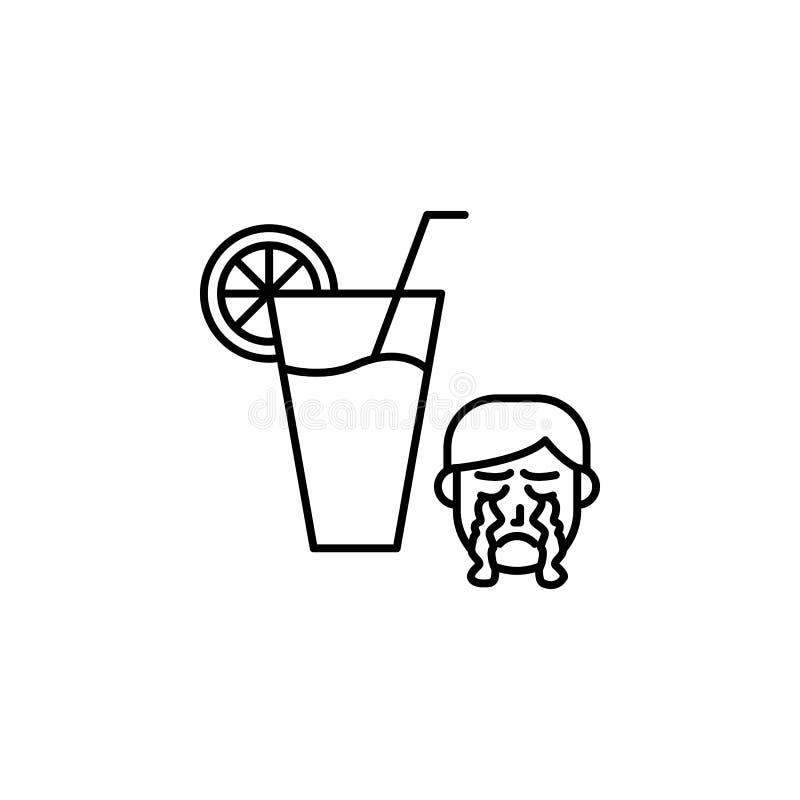 Jus, icône allergique de visage Élément des problèmes avec l'icône d'allergies Ligne mince icône pour la conception de site Web e illustration de vecteur