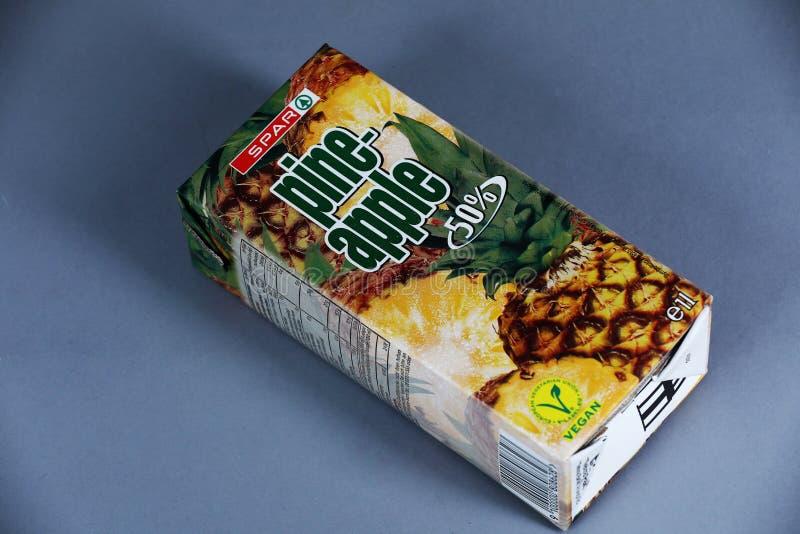 Jus naturel d'ananas de détaillant de longeron image libre de droits