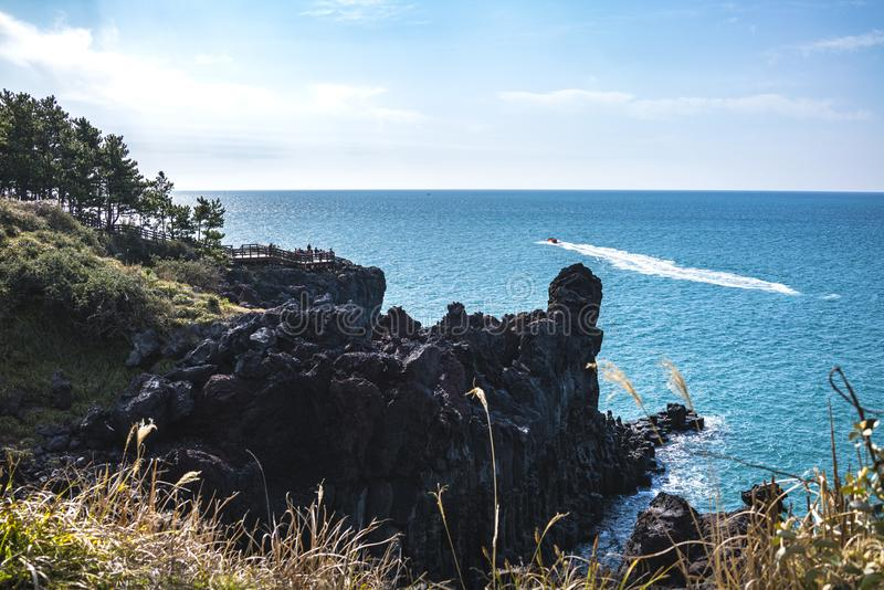 Jusangjeollidae的看法 Jusangjeolli是石柱子被堆沿海并且是济州的一座选定的文化纪念碑 免版税图库摄影