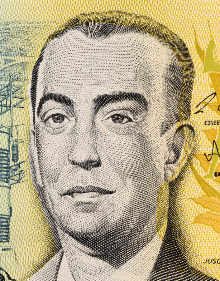 Juscelino Kubitschek. On 100 Cruzados 1987 Banknote from Brazil. President of Brazil during 1956-1961. He managed economic prosperity and political stability royalty free stock photos