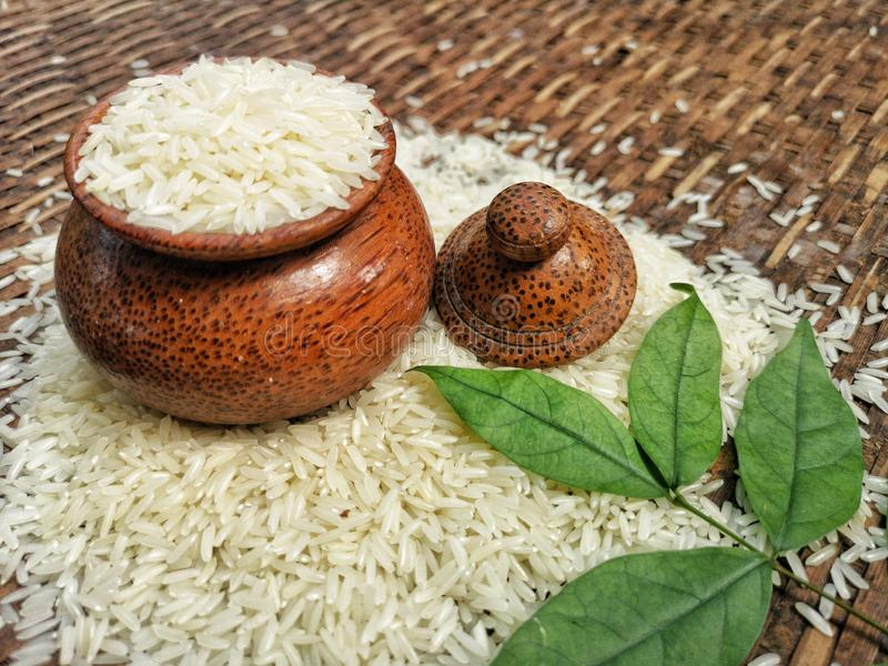 jusmin rice in wooden craft of Thailand royalty free stock image