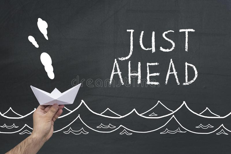 Just ahead words on blackboard royalty free stock image