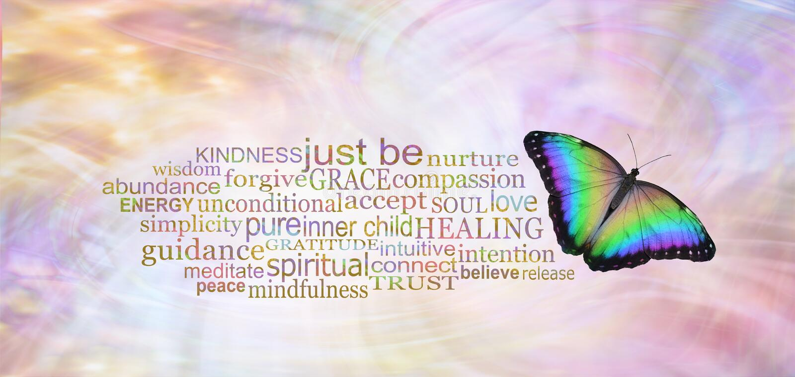 Just Be - Beautiful Butterfly Word Cloud. Simplicity - a beautiful multicoloured open wing butterfly beside a JUST BE word tag cloud on a wispy ethereal energy stock photo