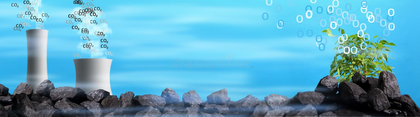 Just behind the coal heap, huge chimneys smoke and a small green tree grows in the corner. royalty free illustration