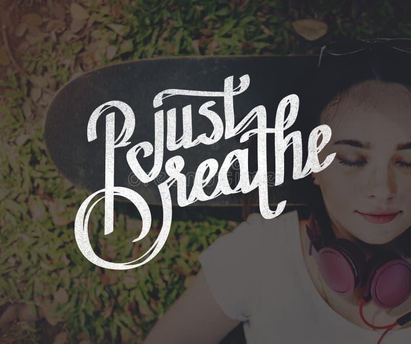 Just Breath Calmness Peaceful Mind Meditation Concept.  stock photo