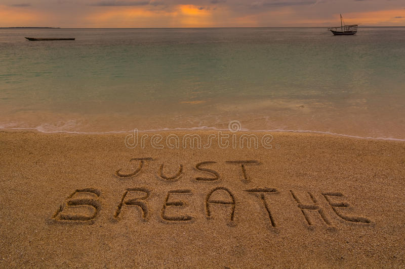 Just breathe words royalty free stock image